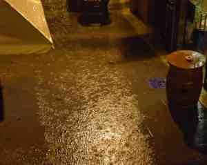 The river that used to be our street last night. Another nominee for worst photo on this blog!