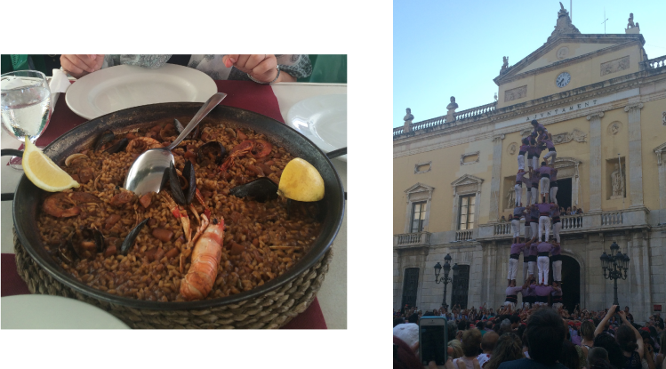 Paella marisco and a castell in Tarragona