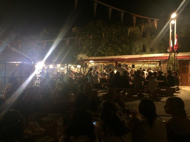 The same plaza on Friday night